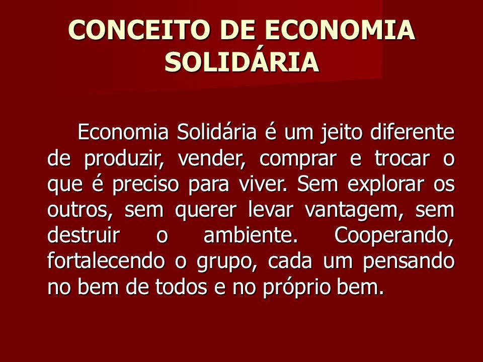 CONCEITO DE ECONOMIA SOLIDÁRIA Economia Solidária é um jeito diferente de produzir, vender, comprar e trocar o que é preciso para viver.