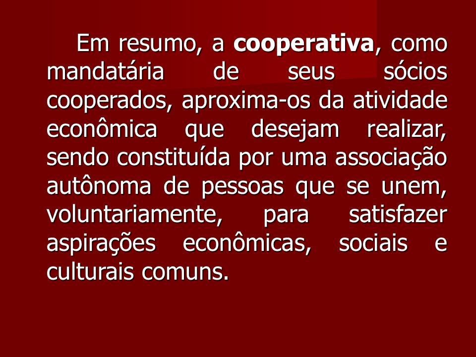 Em resumo, a cooperativa, como mandatária de seus sócios cooperados, aproxima-os da atividade econômica que desejam realizar, sendo constituída por uma associação autônoma de pessoas que se unem, voluntariamente, para satisfazer aspirações econômicas, sociais e culturais comuns.
