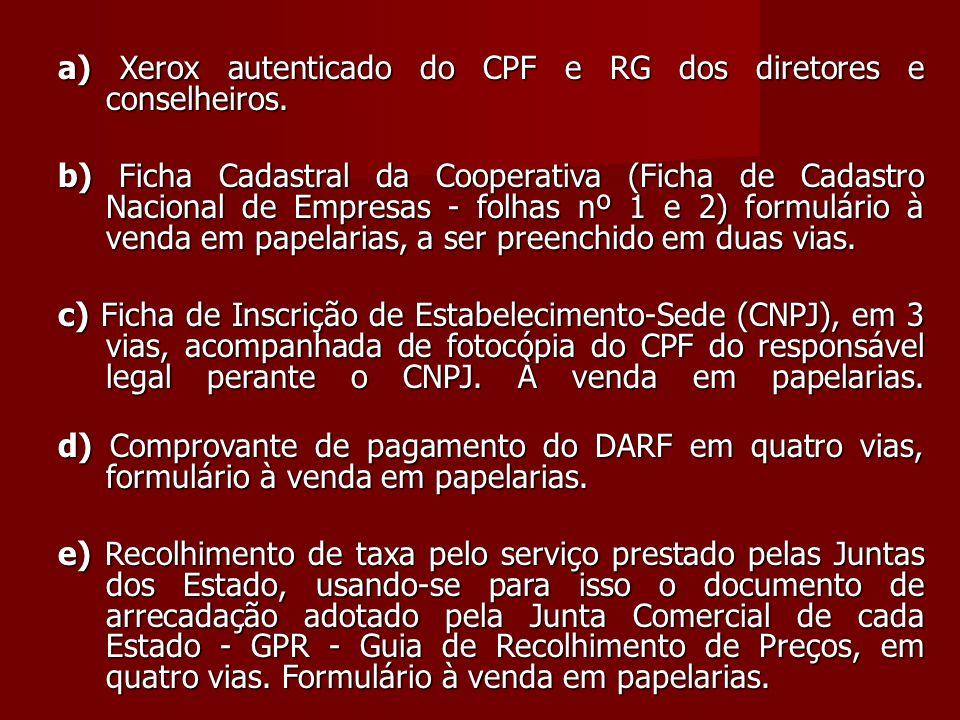 a) Xerox autenticado do CPF e RG dos diretores e conselheiros.