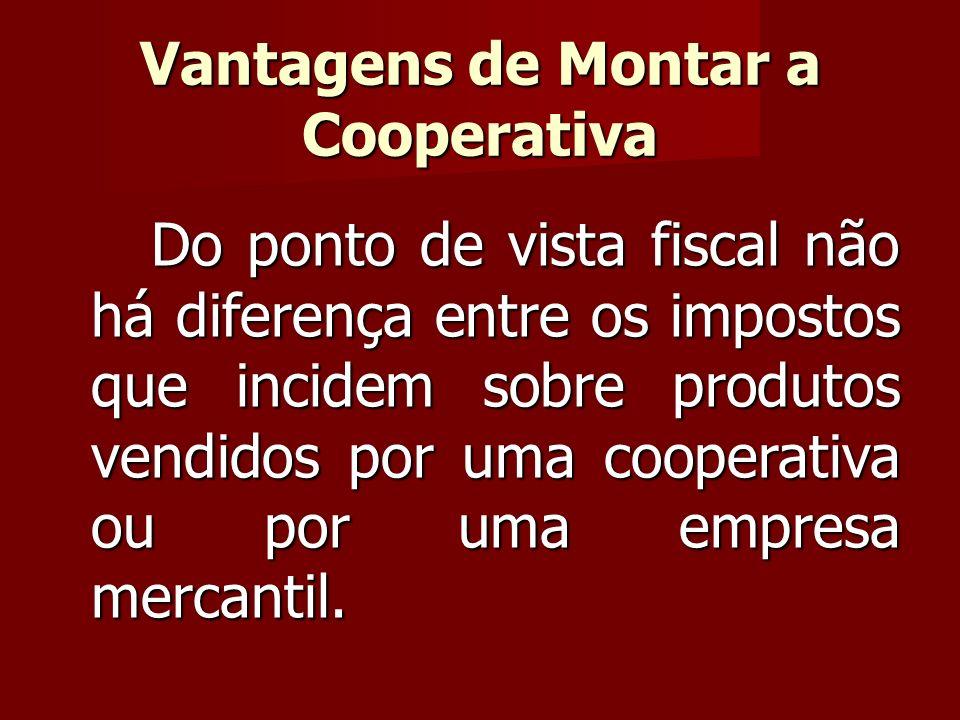 Do ponto de vista fiscal não há diferença entre os impostos que incidem sobre produtos vendidos por uma cooperativa ou por uma empresa mercantil.