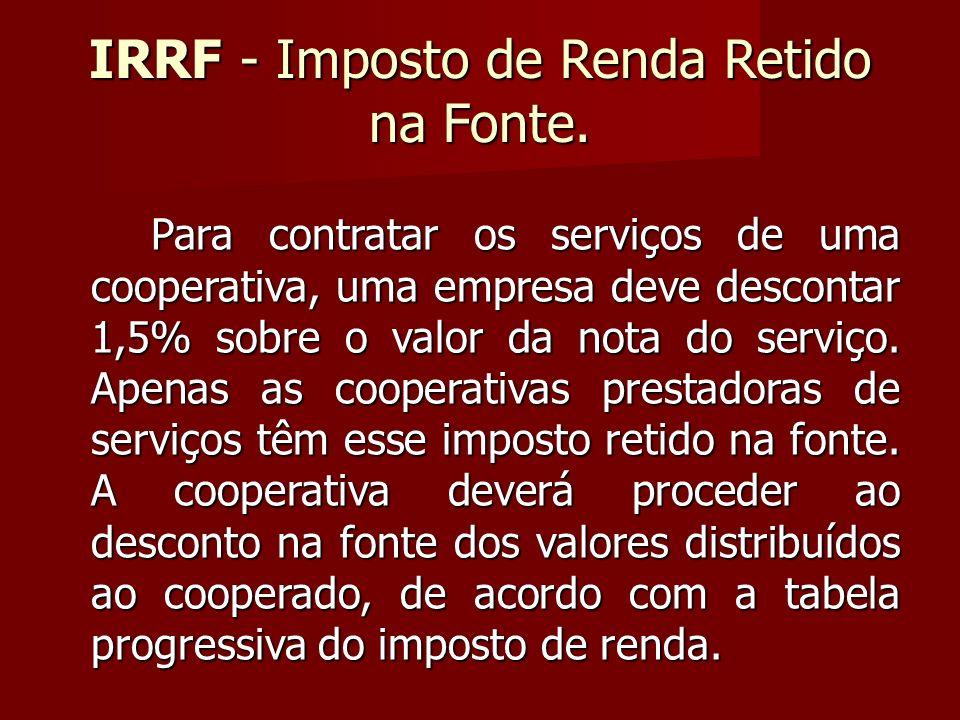 IRRF - Imposto de Renda Retido na Fonte.