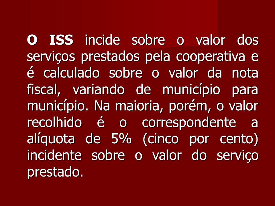 O ISS incide sobre o valor dos serviços prestados pela cooperativa e é calculado sobre o valor da nota fiscal, variando de município para município.