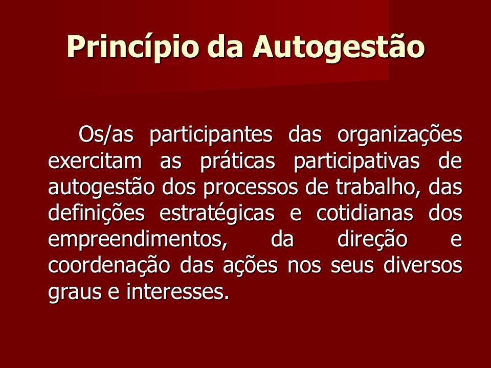 Princípio da Autogestão Os/as participantes das organizações exercitam as práticas participativas de autogestão dos processos de trabalho, das definições estratégicas e cotidianas dos empreendimentos, da direção e coordenação das ações nos seus diversos graus e interesses.