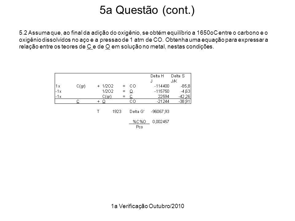 1a Verificação Outubro/2010 5a Questão (cont.) 5.2 Assuma que, ao final da adição do oxigênio, se obtém equilíbrio a 1650oC entre o carbono e o oxigên