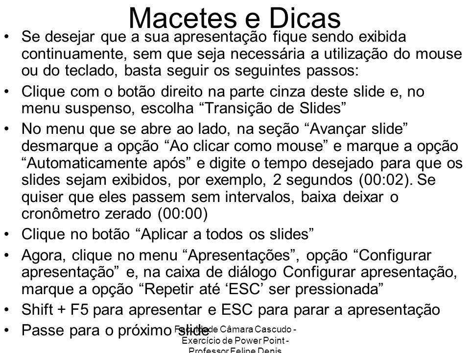 Faculdade Câmara Cascudo - Exercício de Power Point - Professor Felipe Denis Macetes e Dicas Se desejar que a sua apresentação fique sendo exibida con