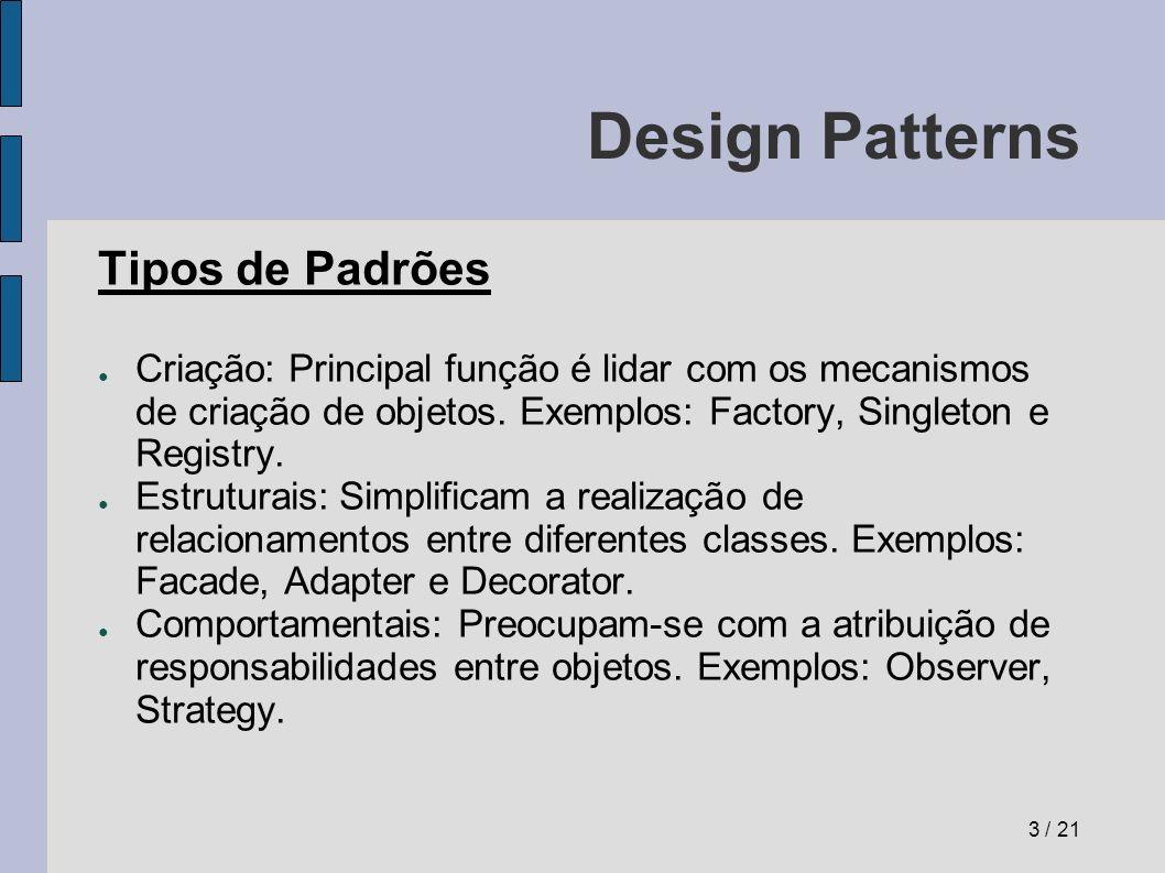 Design Patterns Prós e Contras Prós: Facilitam o re-uso de técnicas e arquiteturas de software já testadas com sucesso.