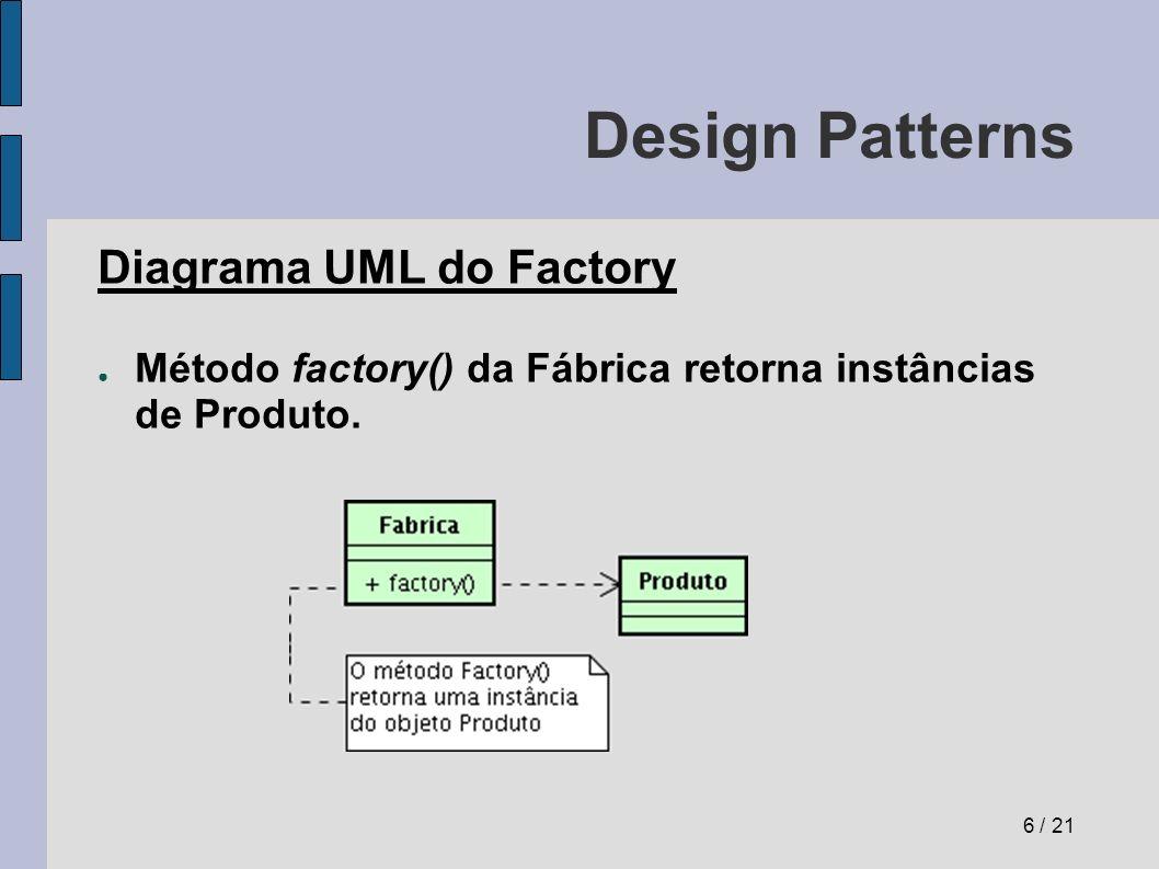 Design Patterns Observer (observador) Problema: Como alertar objetos de que houve uma mudança de estado em um objeto de forma automática.