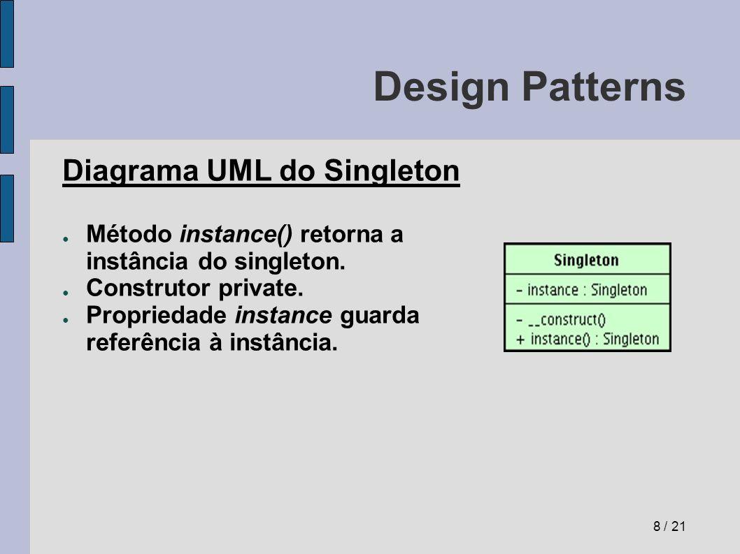 Design Patterns Registry (registro) Problema: Como criar um catálogo de objetos, de onde se possa conseguir referências a eles através de uma interface conhecida.