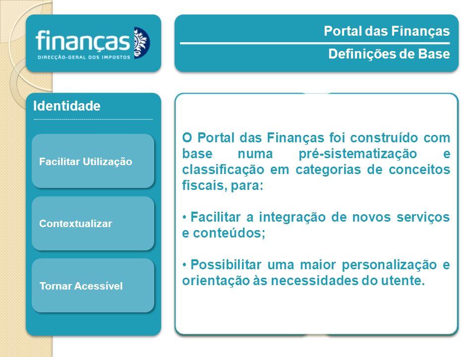 Portal das Finanças Definições de Base Portal das Finanças Definições de Base Identidade Facilitar Utilização Contextualizar Tornar Acessível Segmento