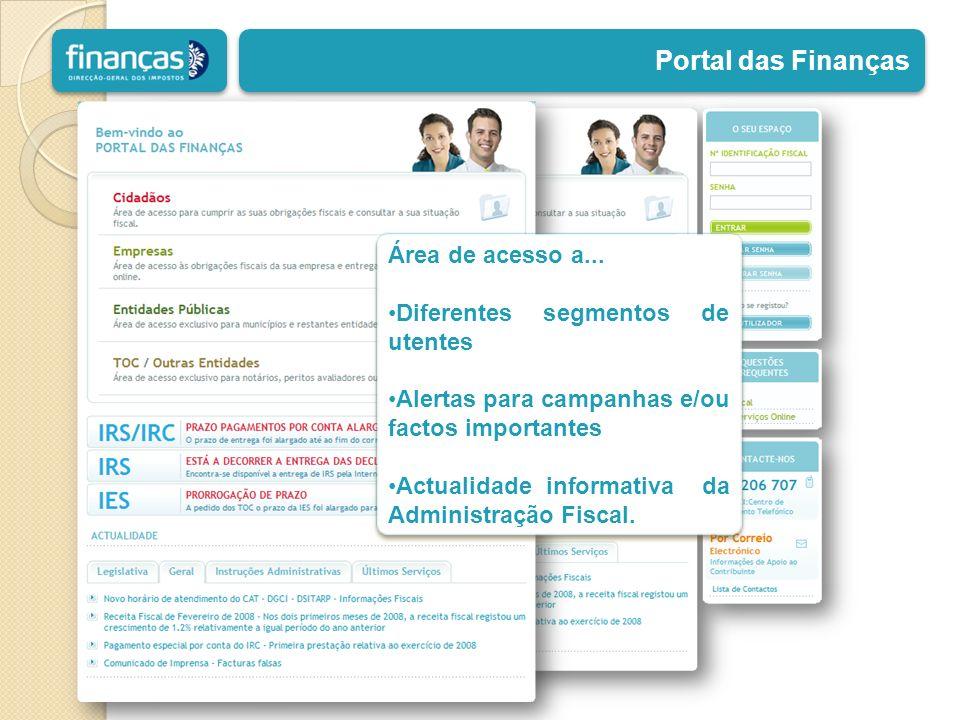 Portal das Finanças Área de acesso a... Diferentes segmentos de utentes Alertas para campanhas e/ou factos importantes Actualidade informativa da Admi