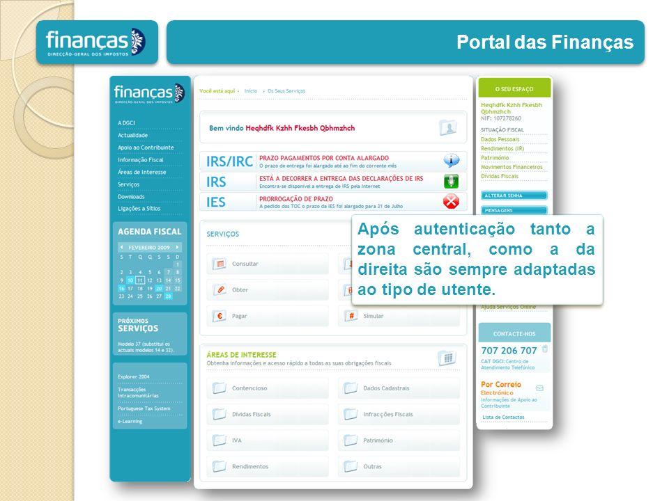 Portal das Finanças Após autenticação tanto a zona central, como a da direita são sempre adaptadas ao tipo de utente.