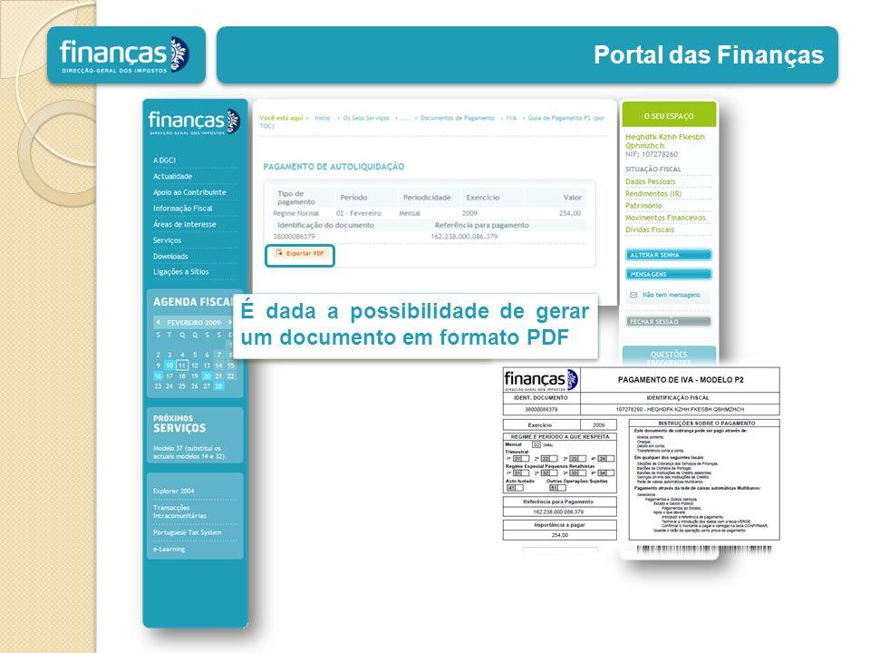 Portal das Finanças É dada a possibilidade de gerar um documento em formato PDF