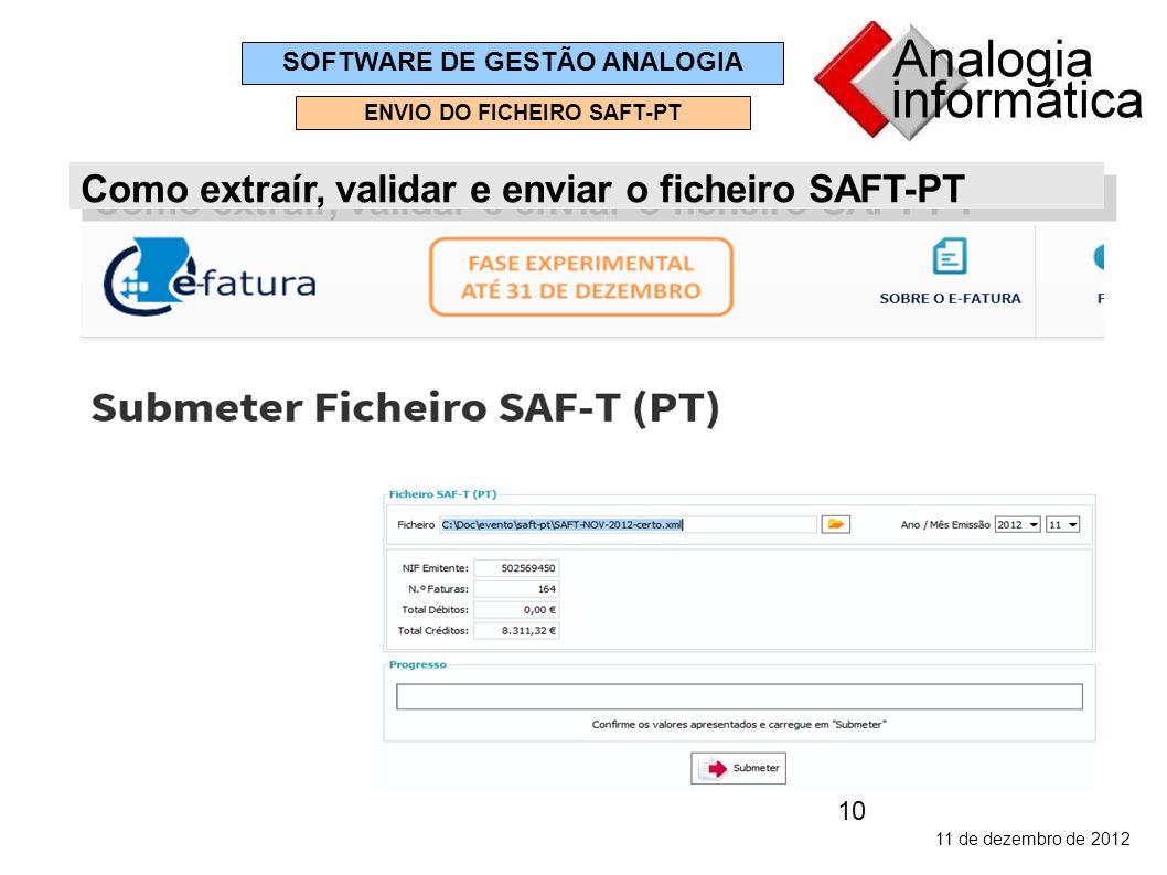 10 11 de dezembro de 2012 SOFTWARE DE GESTÃO ANALOGIA ENVIO DO FICHEIRO SAFT-PT Como extraír, validar e enviar o ficheiro SAFT-PT