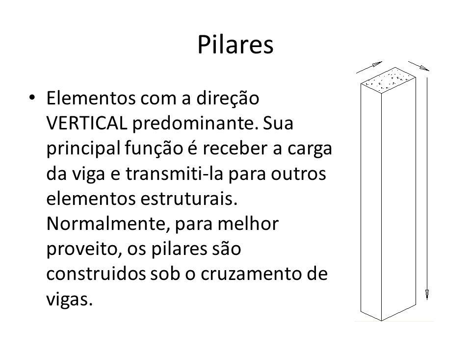 Pilares Elementos com a direção VERTICAL predominante. Sua principal função é receber a carga da viga e transmiti-la para outros elementos estruturais