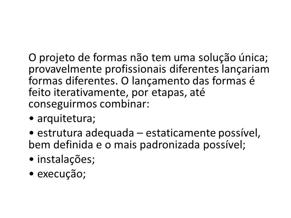 O projeto de formas não tem uma solução única; provavelmente profissionais diferentes lançariam formas diferentes. O lançamento das formas é feito ite