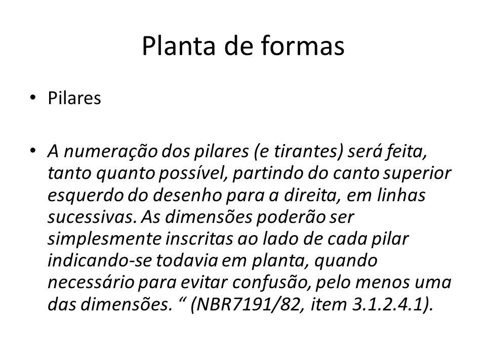 Planta de formas Pilares A numeração dos pilares (e tirantes) será feita, tanto quanto possível, partindo do canto superior esquerdo do desenho para a