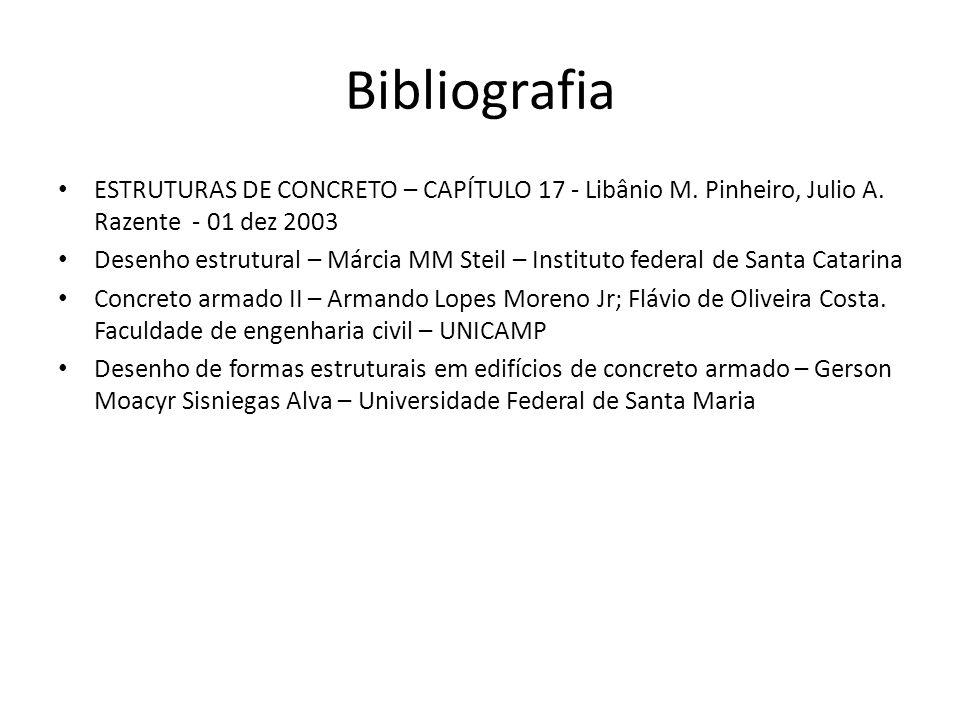 Bibliografia ESTRUTURAS DE CONCRETO – CAPÍTULO 17 - Libânio M. Pinheiro, Julio A. Razente - 01 dez 2003 Desenho estrutural – Márcia MM Steil – Institu