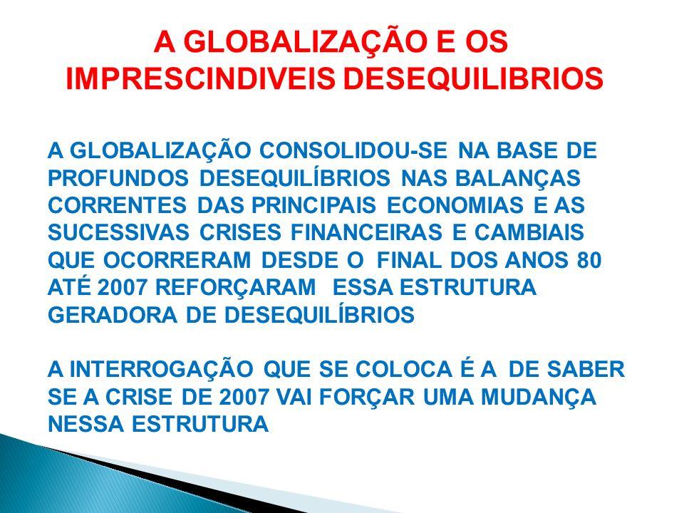 A GLOBALIZAÇÃO CONSOLIDOU-SE NA BASE DE PROFUNDOS DESEQUILÍBRIOS NAS BALANÇAS CORRENTES DAS PRINCIPAIS ECONOMIAS E AS SUCESSIVAS CRISES FINANCEIRAS E