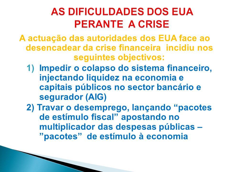 A actuação das autoridades dos EUA face ao desencadear da crise financeira incidiu nos seguintes objectivos: 1)Impedir o colapso do sistema financeiro