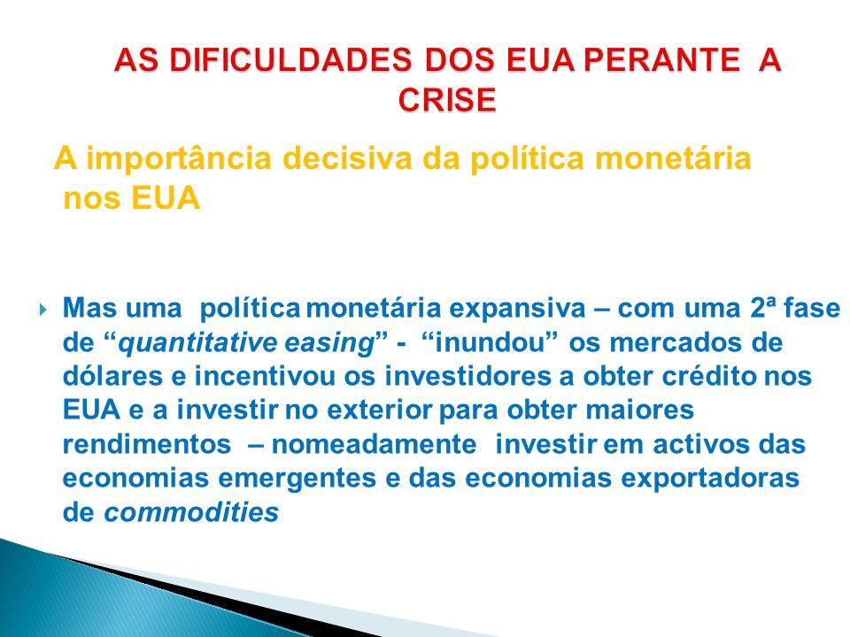 Mas uma política monetária expansiva – com uma 2ª fase de quantitative easing - inundou os mercados de dólares e incentivou os investidores a obter cr