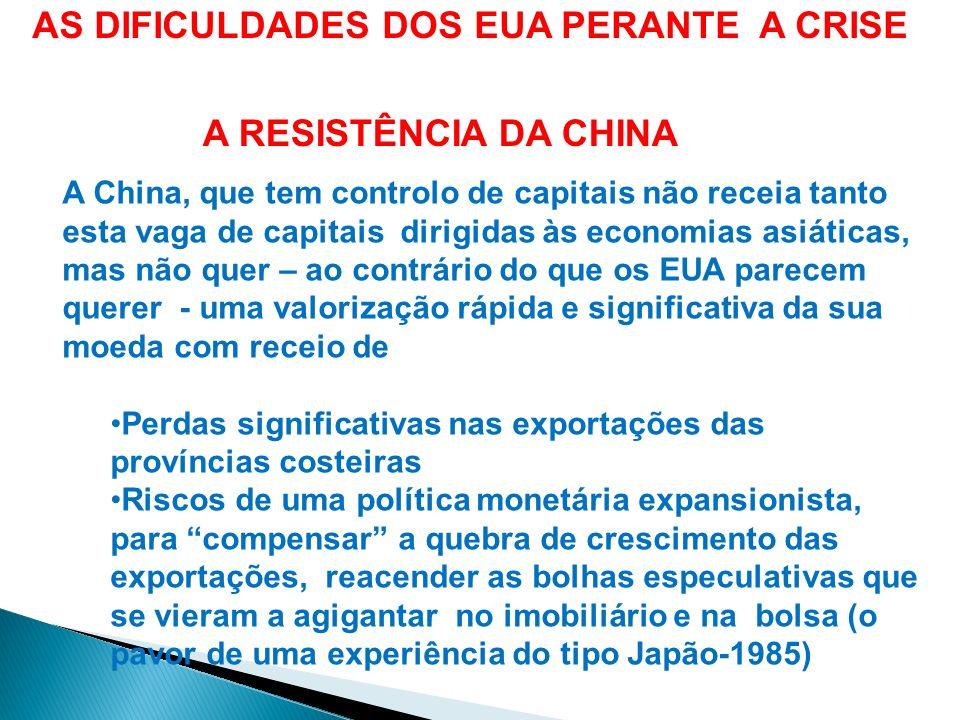 A China preferiria que os EUA recuperassem competitividade pela deflação - ou seja pela descida dos preços internos em vez o ser pela desvalorização nominal da sua moeda (ou seja pela revalorização da moeda chinesa) AS DIFICULDADES DOS EUA PERANTE A CRISE)