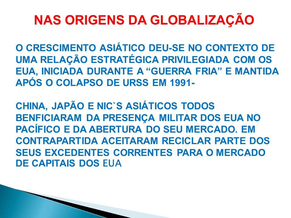 AS DUAS FASES DA GLOBALIZAÇÃO A 1ª FASE DA GLOBALIZAÇÃO 1980- 2000 A ECONOMIA MAIS DESENVOLVIDA DA ÁSIA, O JAPÃO, ACUMULA EXCEDENTES CORRENTES EM DÓLARES E TORNA-SE EXPORTADOR LIQUIDOS DE CAPITAIS ADQUIRINDO ACTIVOS EM DÓLARES O PREÇO DO PETRÓLEO BAIXA A PARTIR DO CONTRA CHOQUE PETROLÍFERO DE 1985/6 E MANTÉM-SE ESTÁVEL EM TORNO DOS 20 DÓLARES/BARRIL DURANTE QUASE TODA A DÉCADA DE 90 ( a seguir à Guerra do Golfo em 1991) AS ECONOMIAS EMERGENTES DA ÁSIA CONTRIBUEM DECISIVAMENTE PARA MATAR A INFLAÇÃO AO FORNECEREM O CABAZ DE COMPRAS DOS EUA A PREÇOS MUITO MAIS BAIXOS