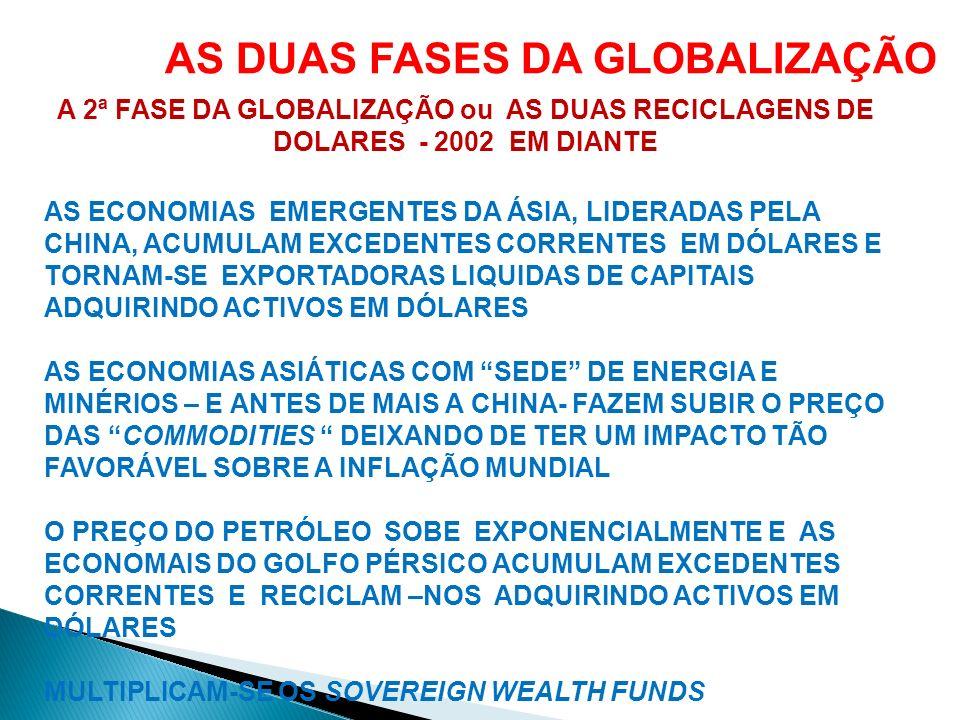 A 2ª FASE DA GLOBALIZAÇÃO ou AS DUAS RECICLAGENS DE DOLARES - 2002 EM DIANTE AS ECONOMIAS EMERGENTES DA ÁSIA, LIDERADAS PELA CHINA, ACUMULAM EXCEDENTE