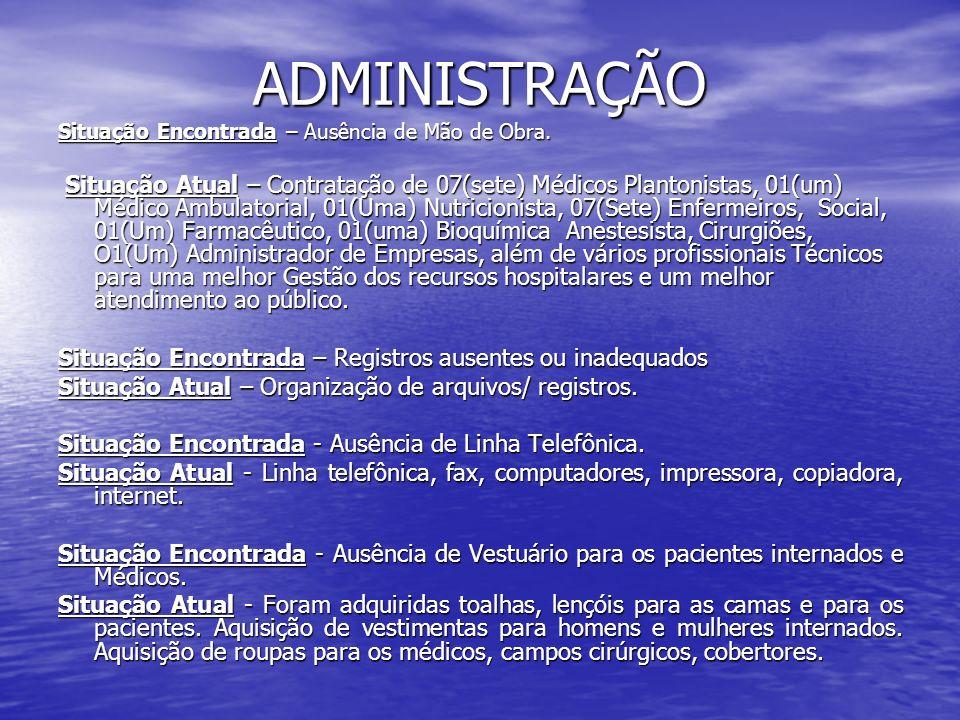 ADMINISTRAÇÃO Situação Encontrada – Ausência de Mão de Obra. Situação Atual – Contratação de 07(sete) Médicos Plantonistas, 01(um) Médico Ambulatorial