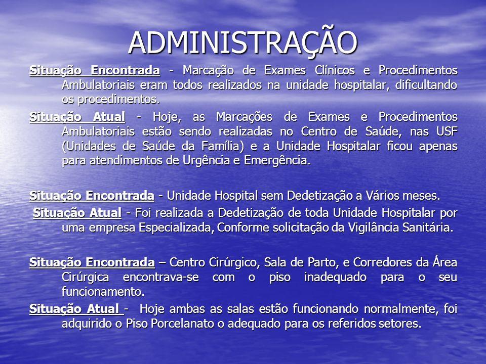 ADMINISTRAÇÃO Situação Encontrada - Marcação de Exames Clínicos e Procedimentos Ambulatoriais eram todos realizados na unidade hospitalar, dificultand