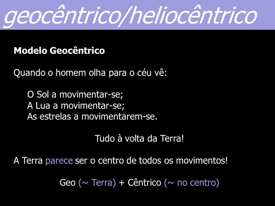 geocêntrico/heliocêntrico Modelo Geocêntrico Quando o homem olha para o céu vê: O Sol a movimentar-se; A Lua a movimentar-se; As estrelas a movimentar