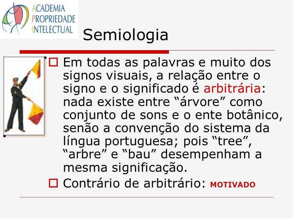 Semiologia Em todas as palavras e muito dos signos visuais, a relação entre o signo e o significado é arbitrária: nada existe entre árvore como conjun