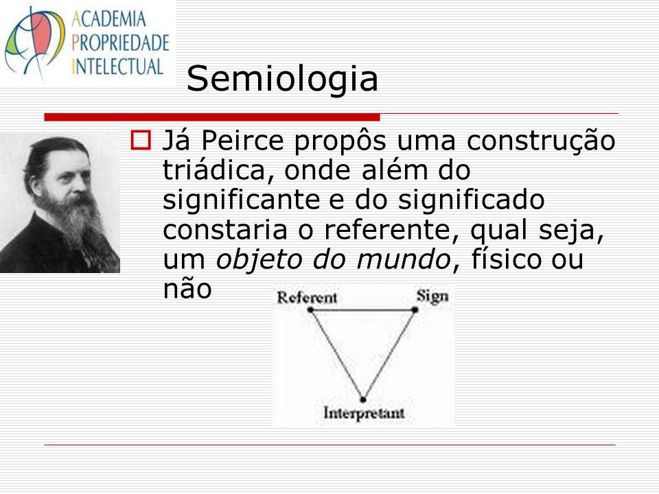 Semiologia Já Peirce propôs uma construção triádica, onde além do significante e do significado constaria o referente, qual seja, um objeto do mundo,