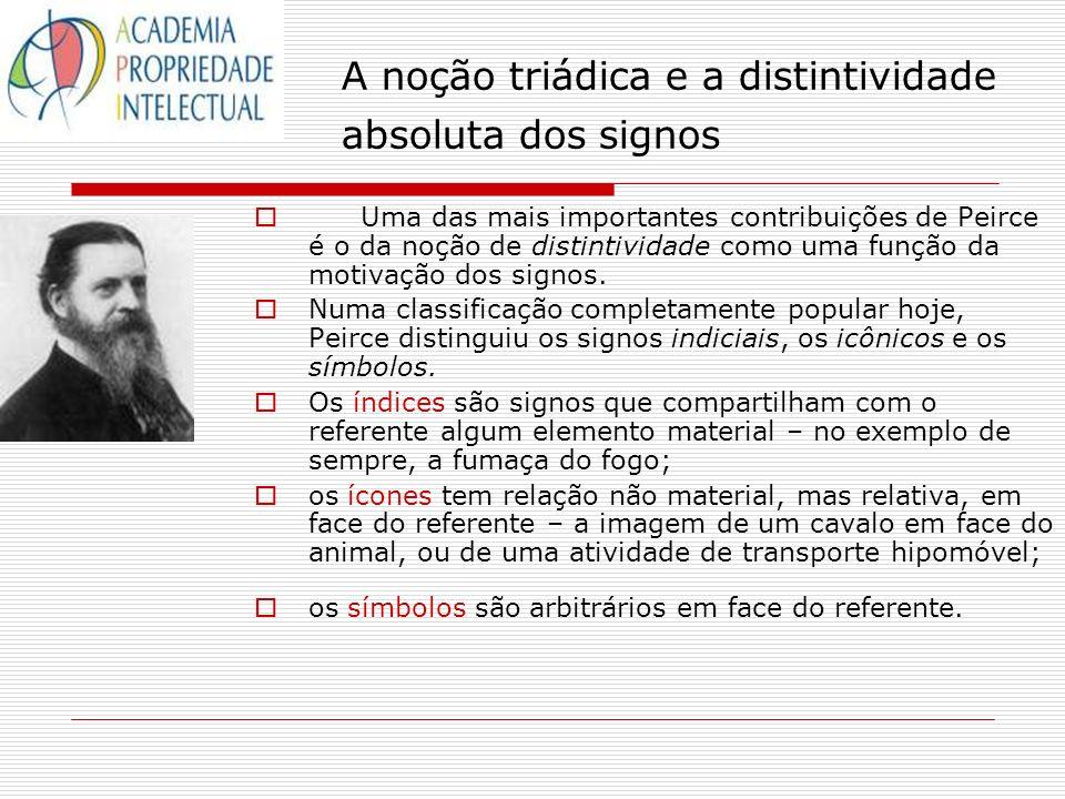 A noção triádica e a distintividade absoluta dos signos Uma das mais importantes contribuições de Peirce é o da noção de distintividade como uma funçã