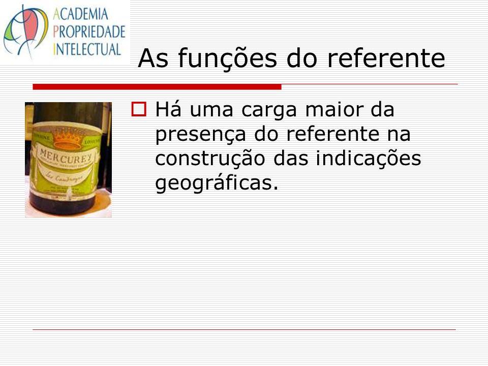 As funções do referente Há uma carga maior da presença do referente na construção das indicações geográficas.