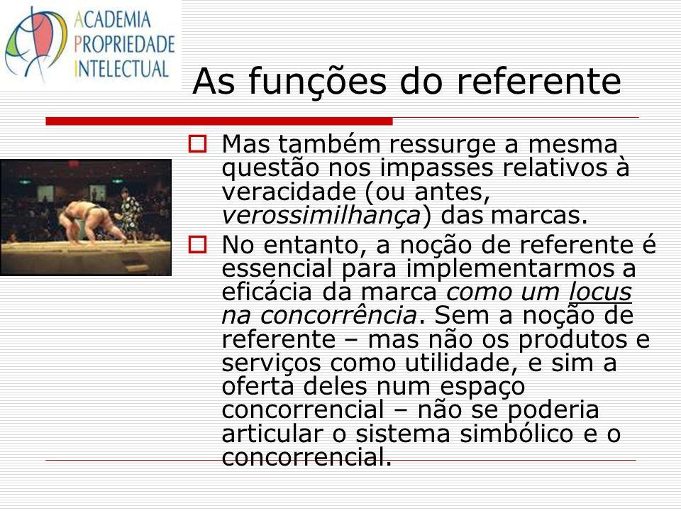 As funções do referente Mas também ressurge a mesma questão nos impasses relativos à veracidade (ou antes, verossimilhança) das marcas. No entanto, a