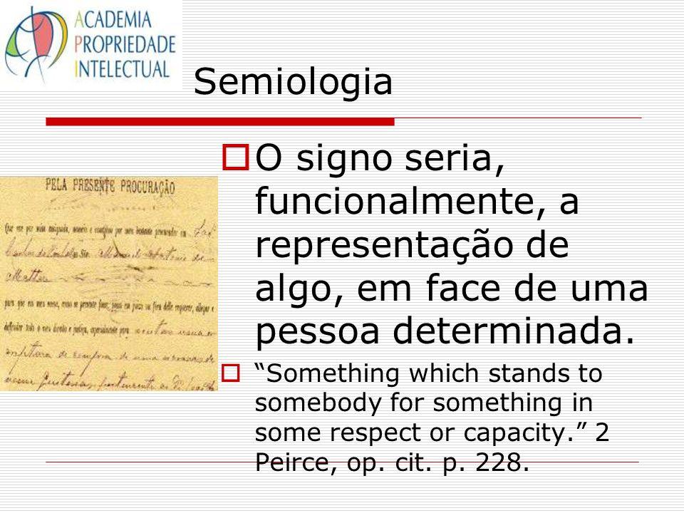 Semiologia O signo seria, funcionalmente, a representação de algo, em face de uma pessoa determinada. Something which stands to somebody for something