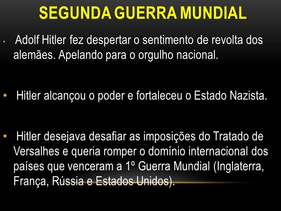 SEGUNDA GUERRA MUNDIAL Adolf Hitler fez despertar o sentimento de revolta dos alemães. Apelando para o orgulho nacional. Hitler alcançou o poder e for