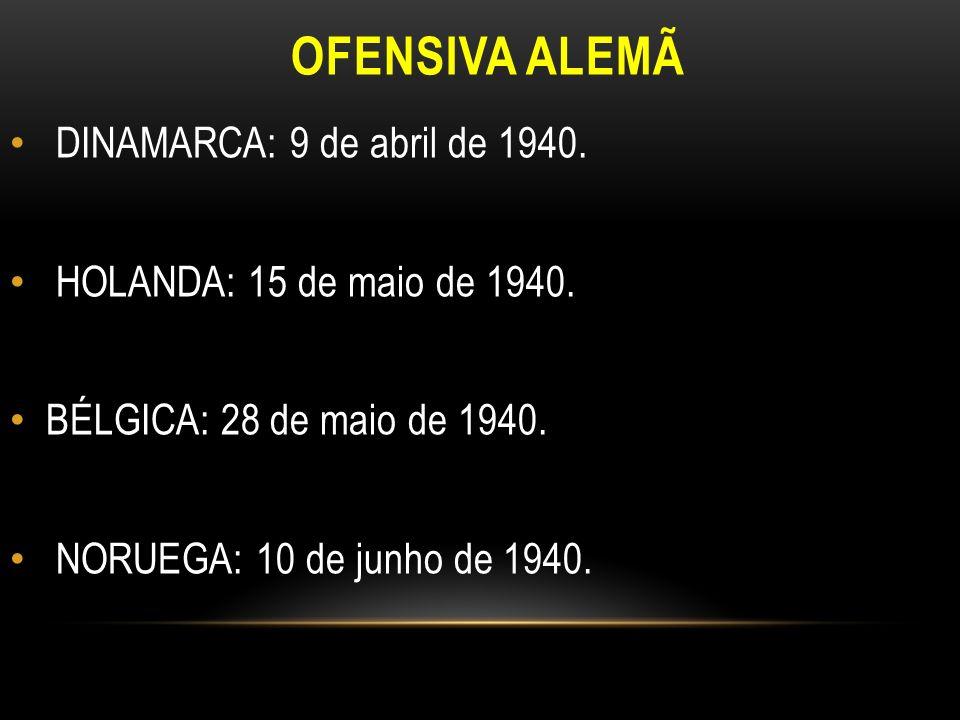 OFENSIVA ALEMÃ DINAMARCA: 9 de abril de 1940. HOLANDA: 15 de maio de 1940. BÉLGICA: 28 de maio de 1940. NORUEGA: 10 de junho de 1940.