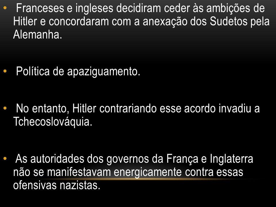 Franceses e ingleses decidiram ceder às ambições de Hitler e concordaram com a anexação dos Sudetos pela Alemanha. Política de apaziguamento. No entan