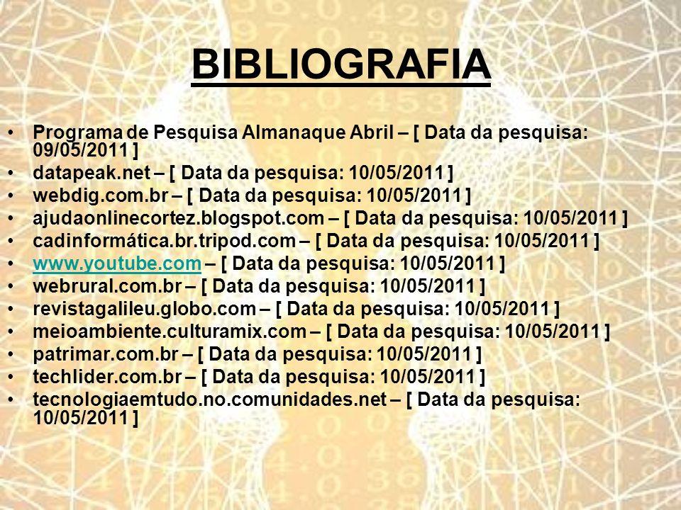 BIBLIOGRAFIA Programa de Pesquisa Almanaque Abril – [ Data da pesquisa: 09/05/2011 ] datapeak.net – [ Data da pesquisa: 10/05/2011 ] webdig.com.br – [
