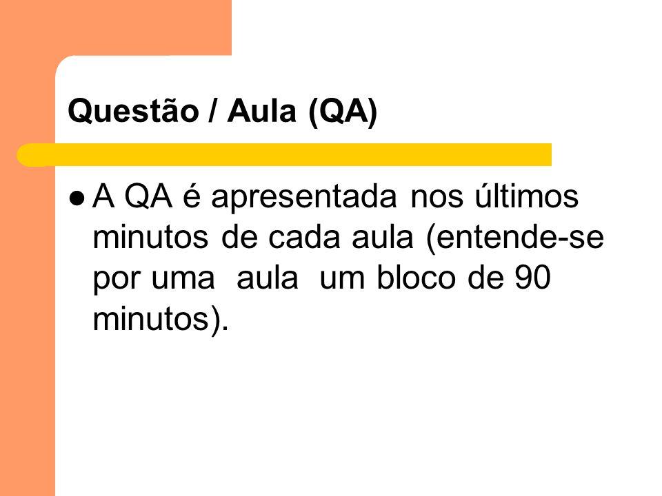 Questão / Aula (QA) A QA é apresentada nos últimos minutos de cada aula (entende-se por uma aula um bloco de 90 minutos).