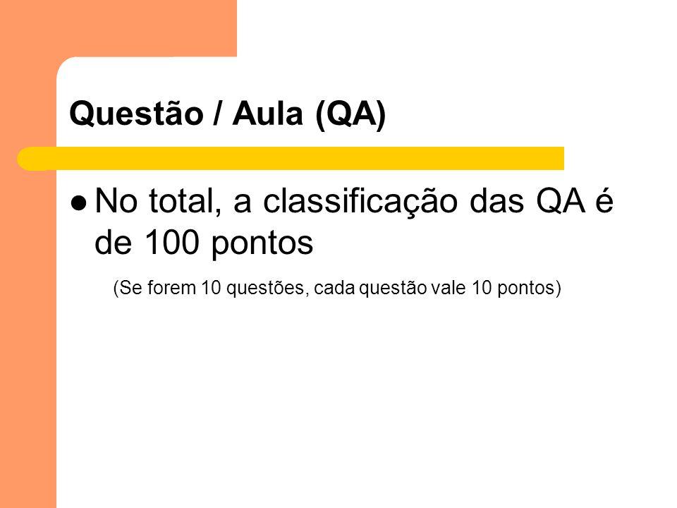 Questão / Aula (QA) No total, a classificação das QA é de 100 pontos (Se forem 10 questões, cada questão vale 10 pontos)