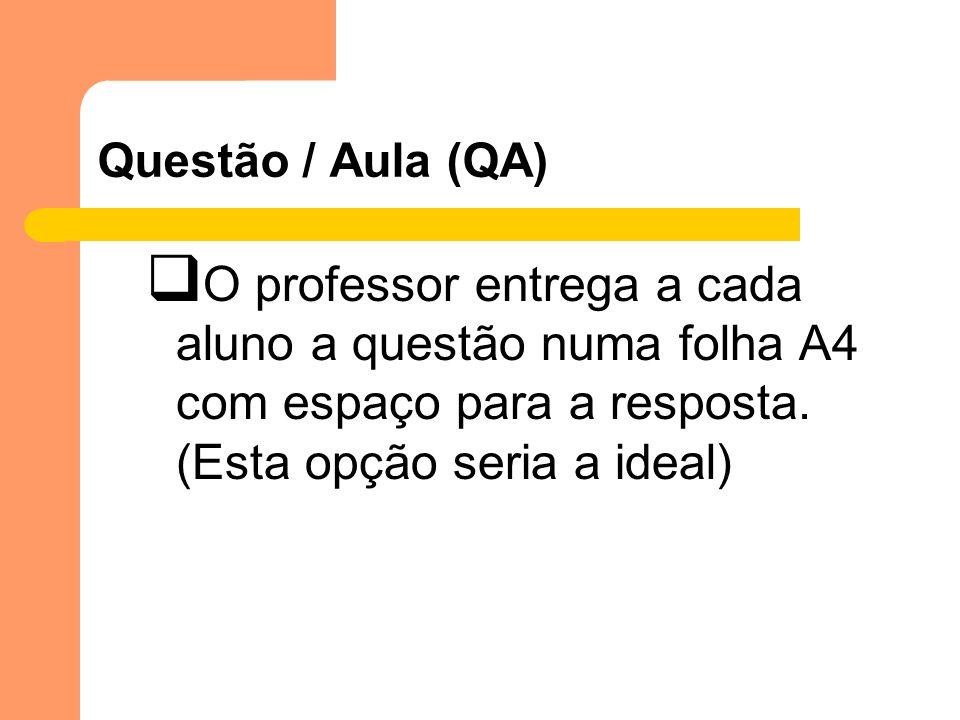 Questão / Aula (QA) O professor entrega a cada aluno a questão numa folha A4 com espaço para a resposta. (Esta opção seria a ideal)