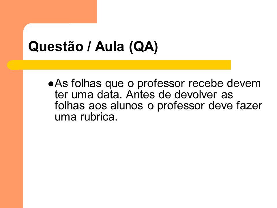 Questão / Aula (QA) As folhas que o professor recebe devem ter uma data. Antes de devolver as folhas aos alunos o professor deve fazer uma rubrica.