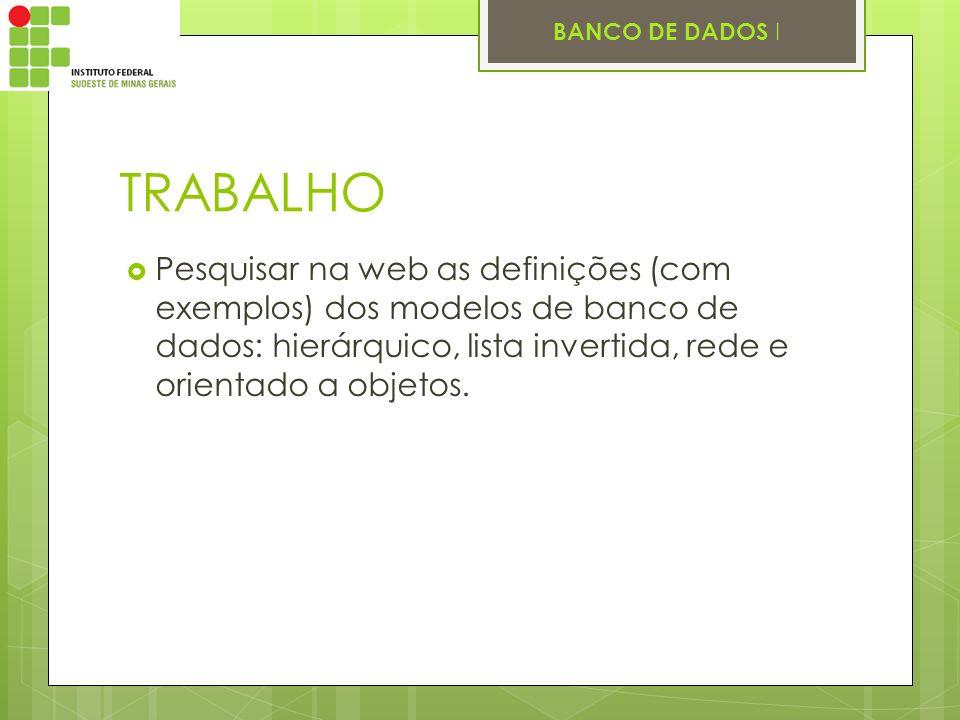 BANCO DE DADOS I TRABALHO Pesquisar na web as definições (com exemplos) dos modelos de banco de dados: hierárquico, lista invertida, rede e orientado