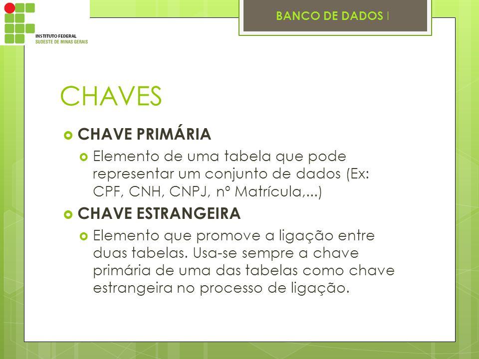 BANCO DE DADOS I CHAVES CHAVE PRIMÁRIA Elemento de uma tabela que pode representar um conjunto de dados (Ex: CPF, CNH, CNPJ, nº Matrícula,...) CHAVE E
