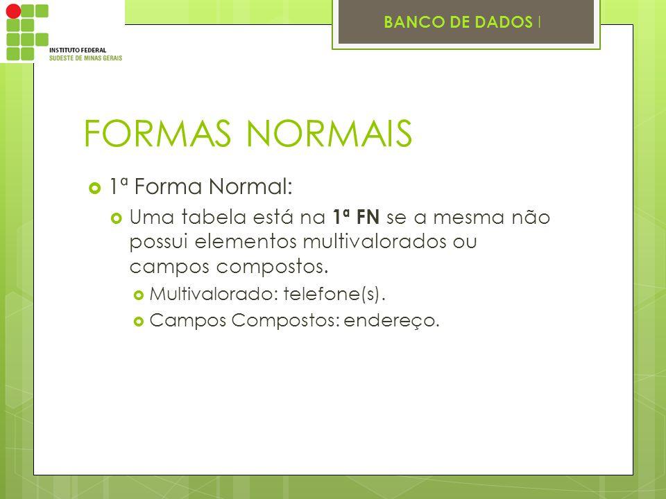 BANCO DE DADOS I FORMAS NORMAIS 1ª Forma Normal: Uma tabela está na 1ª FN se a mesma não possui elementos multivalorados ou campos compostos. Multival