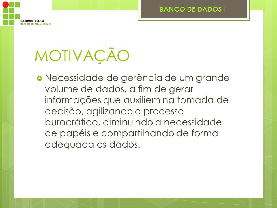 BANCO DE DADOS I MOTIVAÇÃO Necessidade de gerência de um grande volume de dados, a fim de gerar informações que auxiliem na tomada de decisão, agiliza