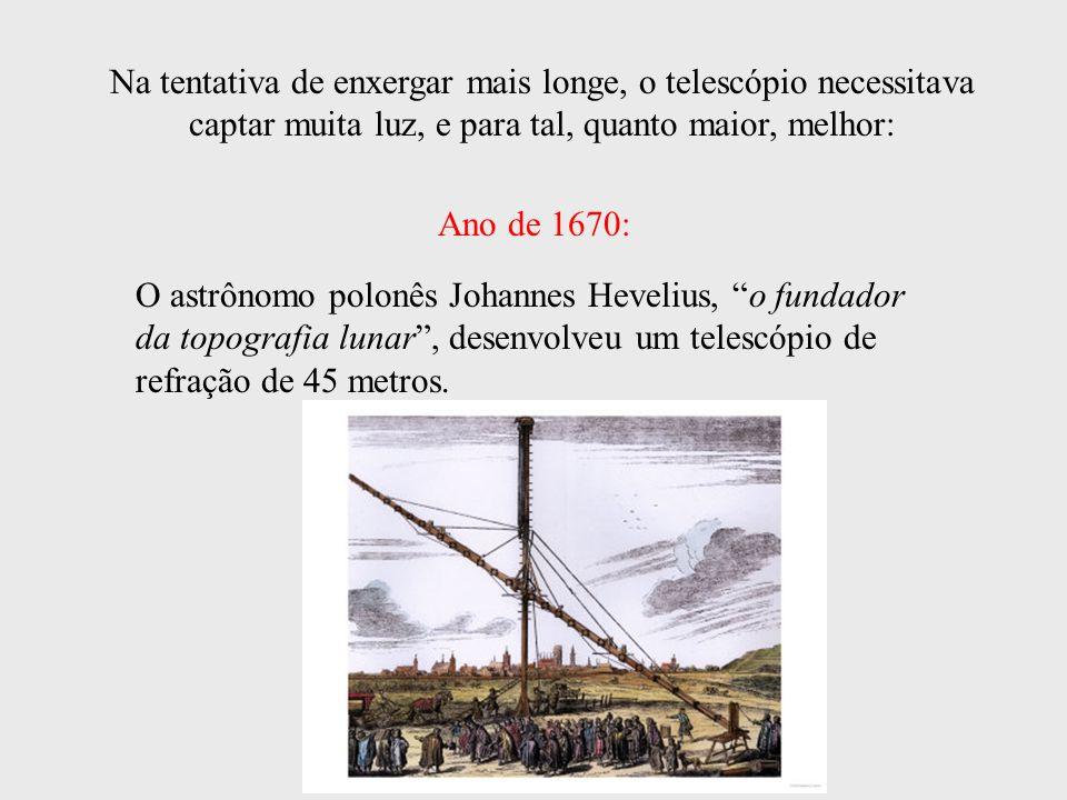 Na tentativa de enxergar mais longe, o telescópio necessitava captar muita luz, e para tal, quanto maior, melhor: O astrônomo polonês Johannes Heveliu
