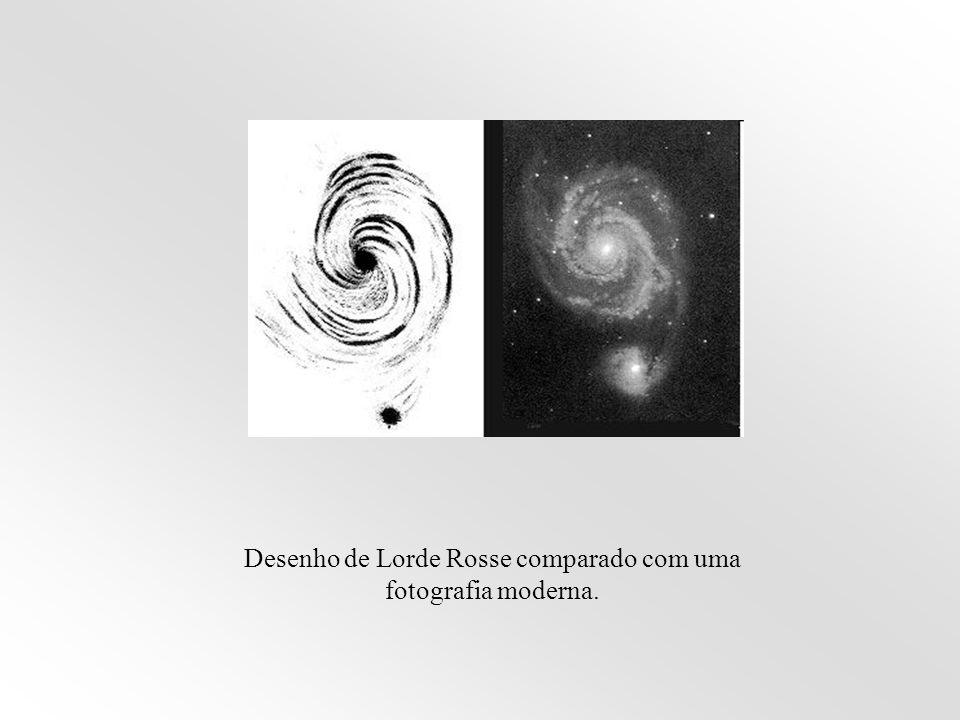 Desenho de Lorde Rosse comparado com uma fotografia moderna.